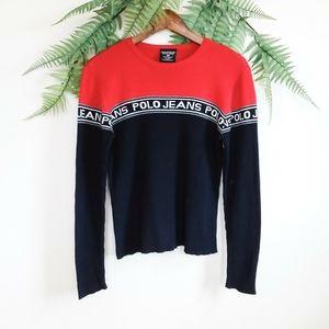 Vtg. Ralph Lauren Polo Ribbed Color Block Sweater